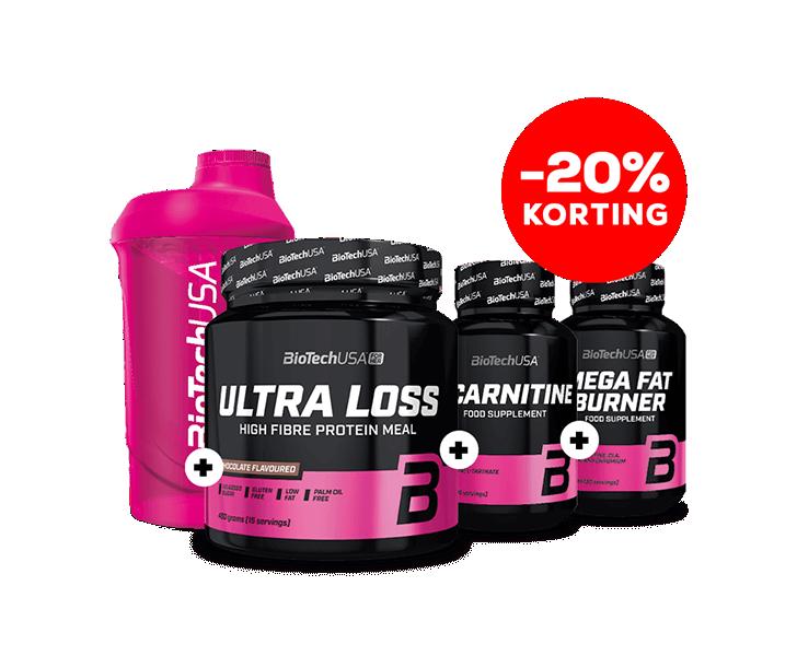 Ultra Loss 450g + L-carnitine 30tab.+ Mega Fat Burner + Shaker 600ml